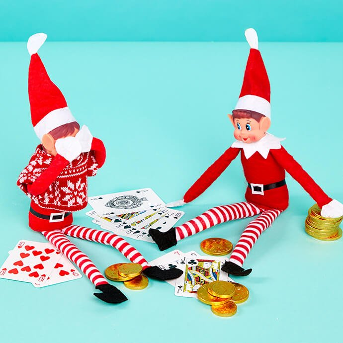 Elf on the Shelf playing poker