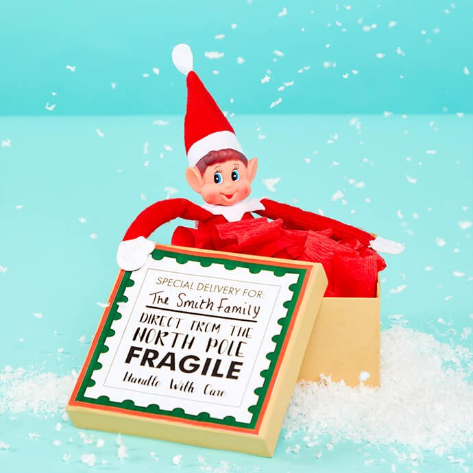Elf on the Shelf inside a Christmas parcel