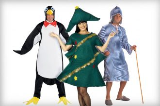 Funny Christmas fancy dress costumes - penguin, Christmas tree and Scrooge