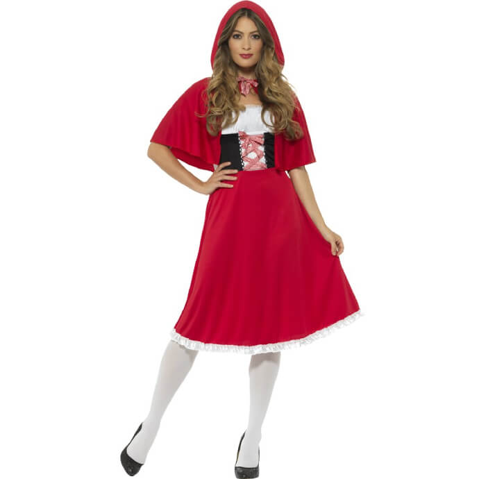 Woman wearing a Red Riding Hood costume with white stockings, red skirt, black bodice and red cape