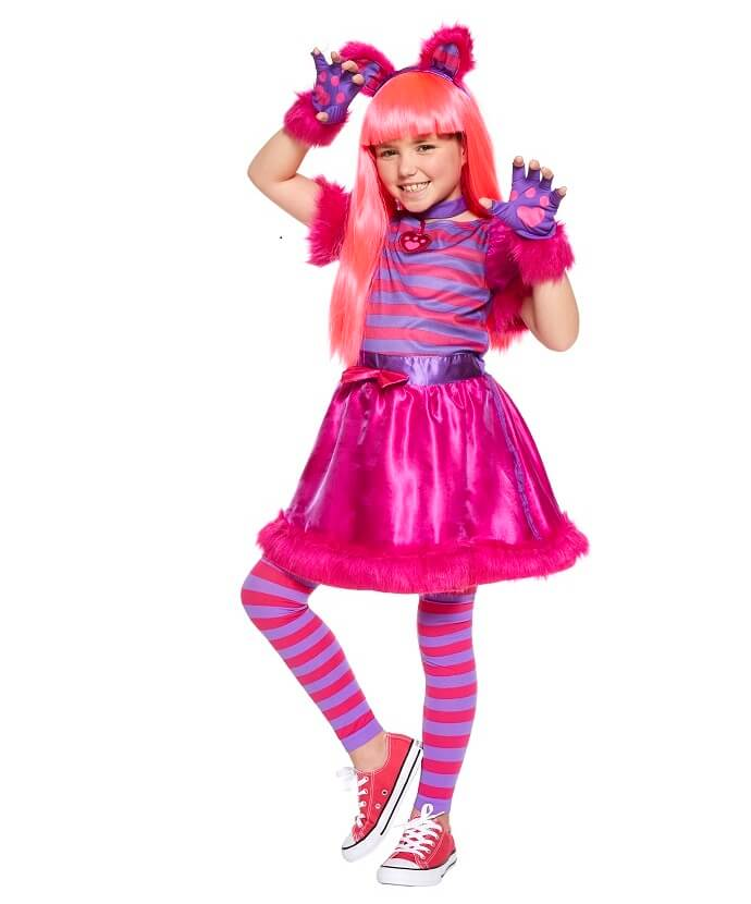 Girl in Cheshire Cat fancy dress costume