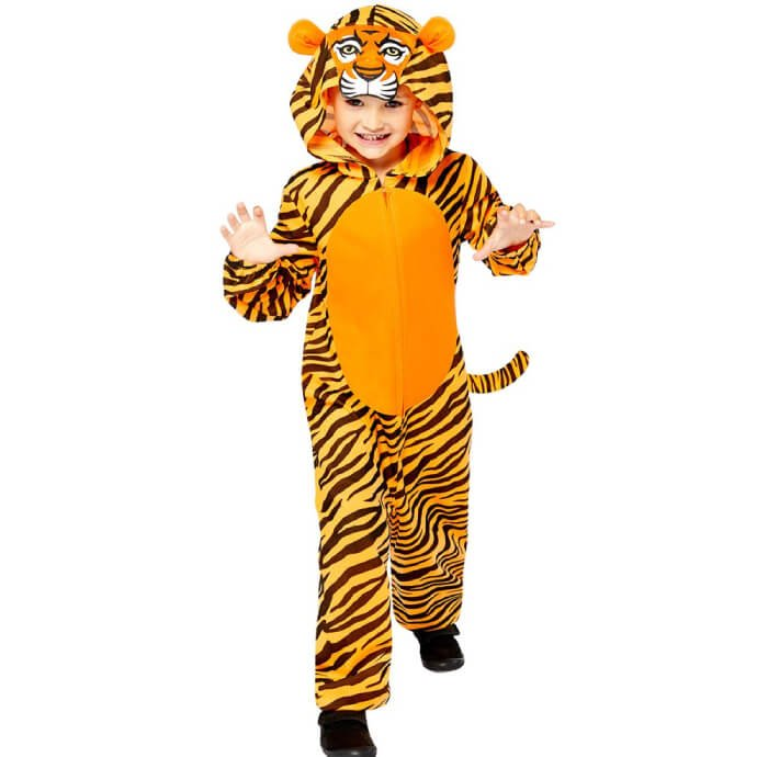Young boy wearing a tiger onesie