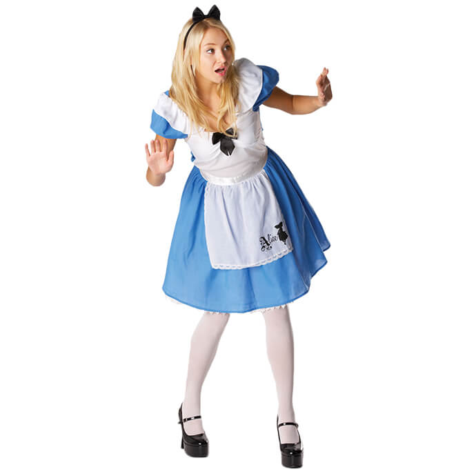 Woman in Alice in Wonderland fancy dress costume