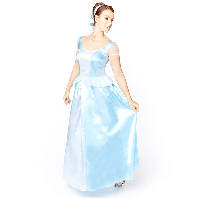 Woman in Cinderella fancy dress costume