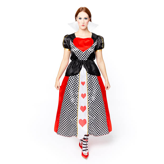 Woman in Queen of Hearts fancy dress costume