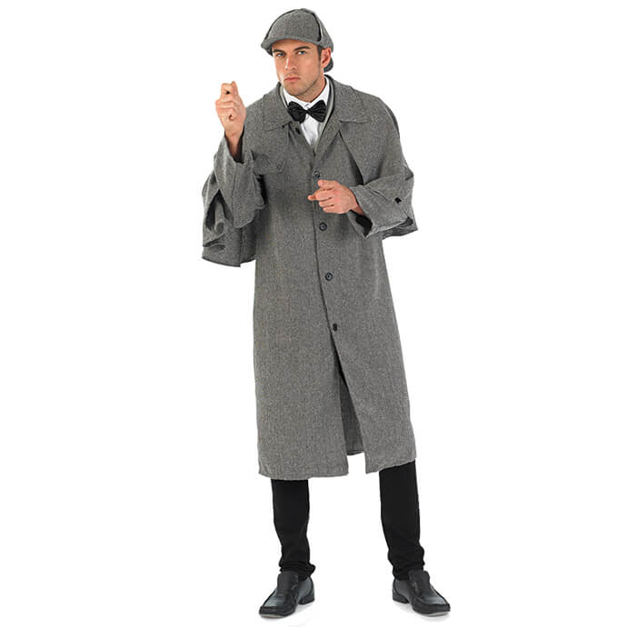 Man in Sherlock Holmes fancy dress costume
