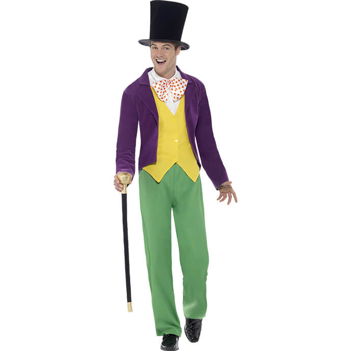 Man in Willy Wonka fancy dress costume
