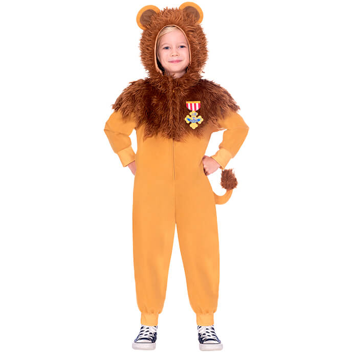 Child in Cowardly Lion fancy dress costume from the Wizard of Oz