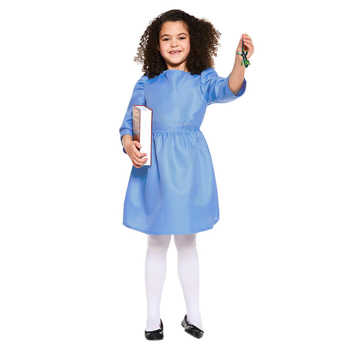 Girl in Matilda fancy dress costume with newt and schoolbook accessories