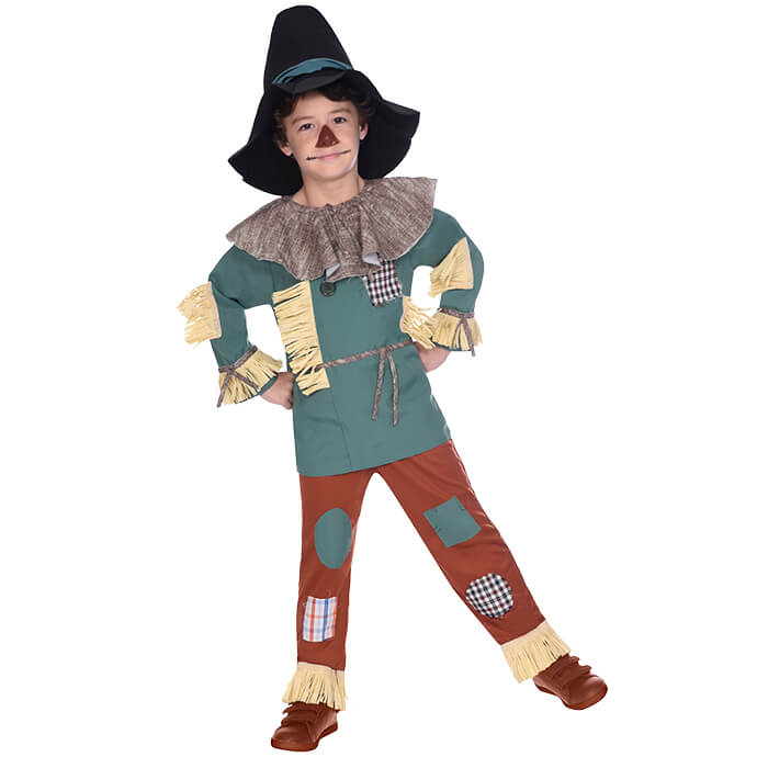 Boy in Scarecrow fancy dress costume from The Wizard of Oz