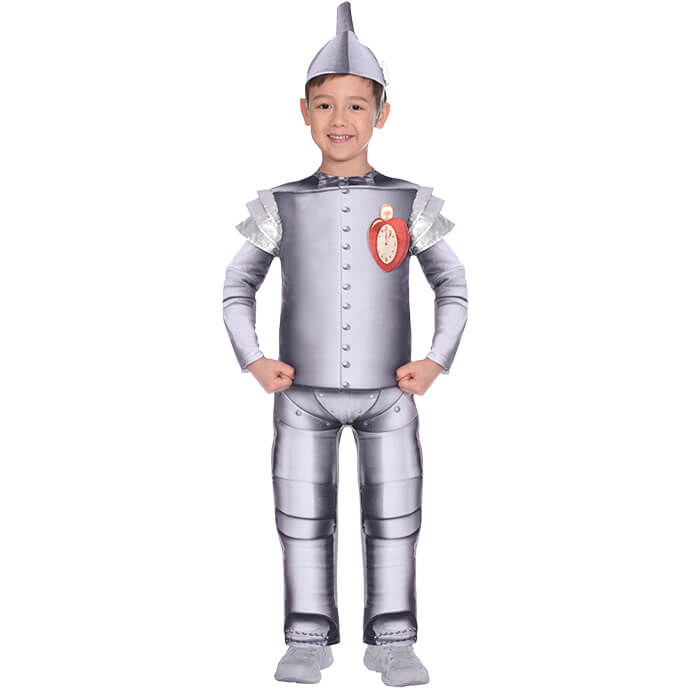 Boy in Tin Man fancy dress costume from The Wizard of Oz