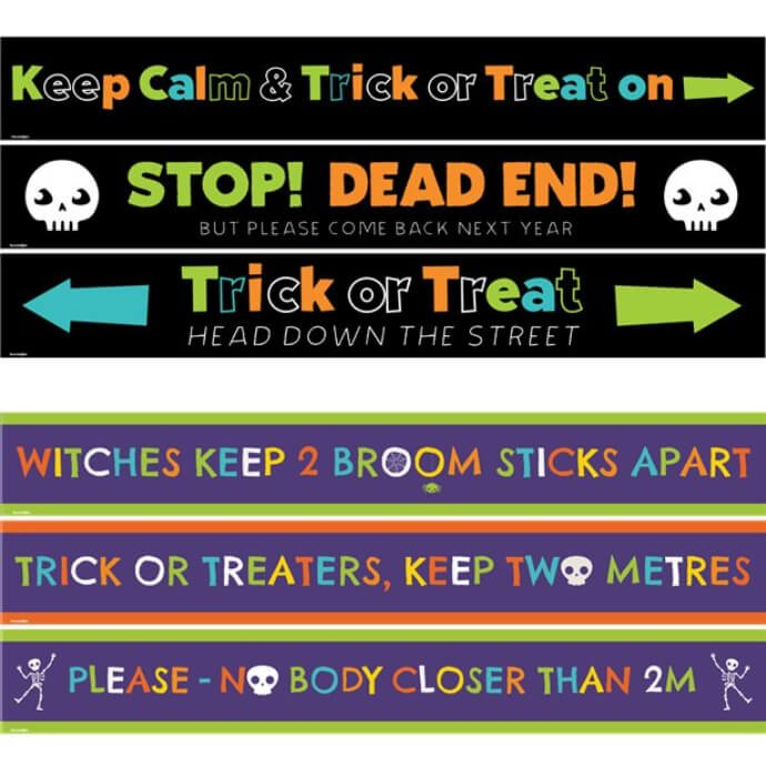 A composite image of a collection of Covid related Halloween banners