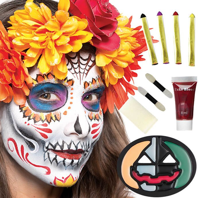 Day of the Dead makeup instruction and palette showing a woman wearing Dia de los Muertos makeup and a flower crown