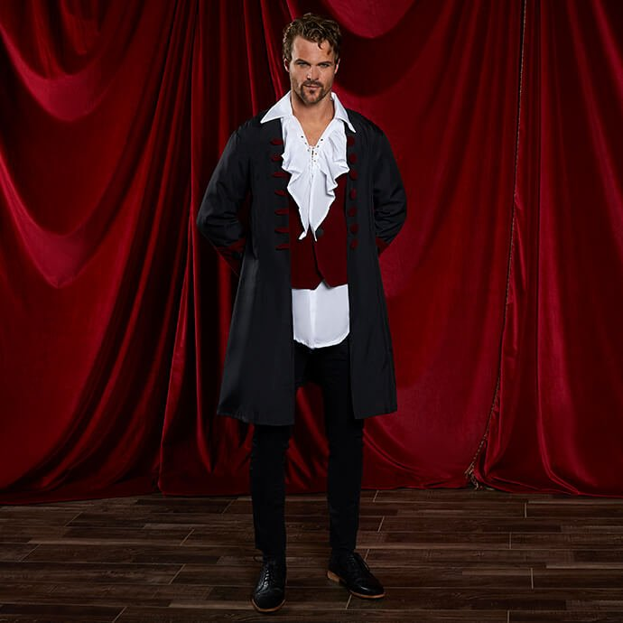 Man with short hair dressed as Laszlo in our gothic vampire waistcoat, coat and pirate shirt