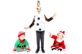 Christmas fancy dress outfits for babies, including elves, Santa and Olaf from Frozen