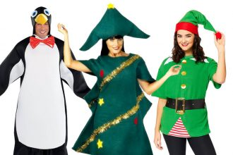 Funny Christmas fancy dress costumes, including a penguin, Christmas tree and jolly elf