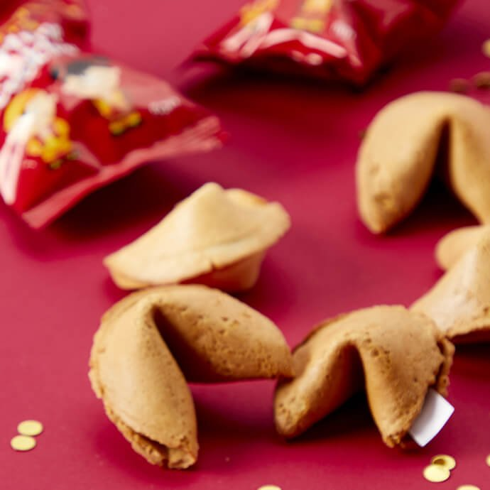 Chinese New Year decorations and fortune cookies