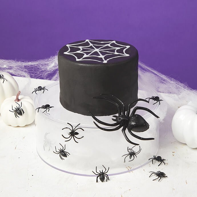 A black cake with white spiderweb icing on top, sat on a clear cake stand filled with spiderwebs and toy spiders
