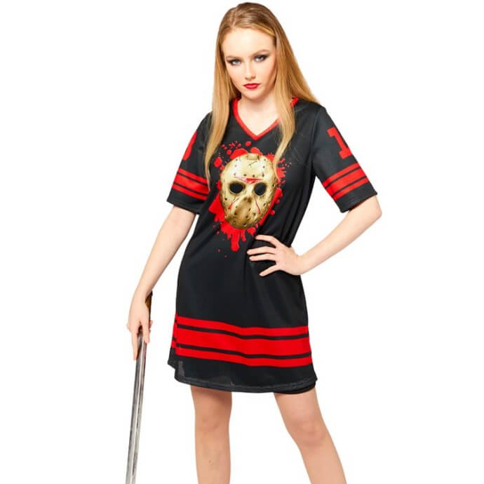 Woman wearing a Jason Voorhees supporter tshirt and leaning casually on a hockey stick